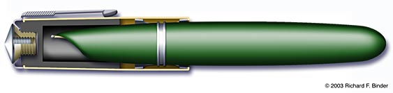 Image of pen with cap in cutaway